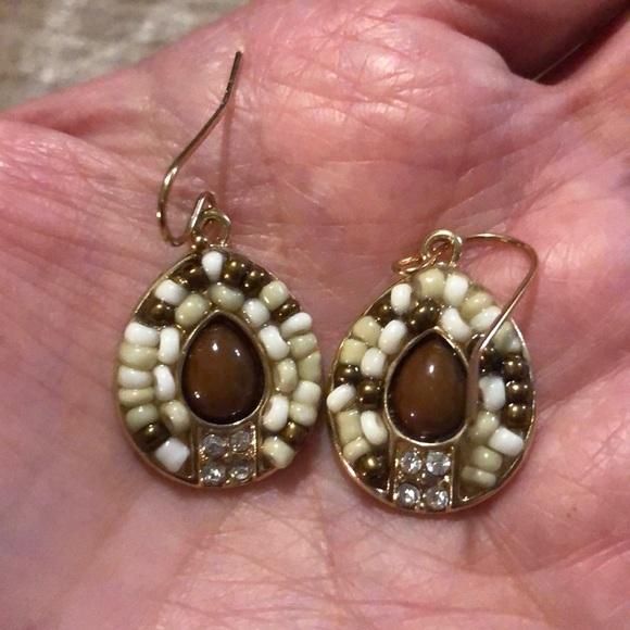 Beautiful beaded earrings and crystal